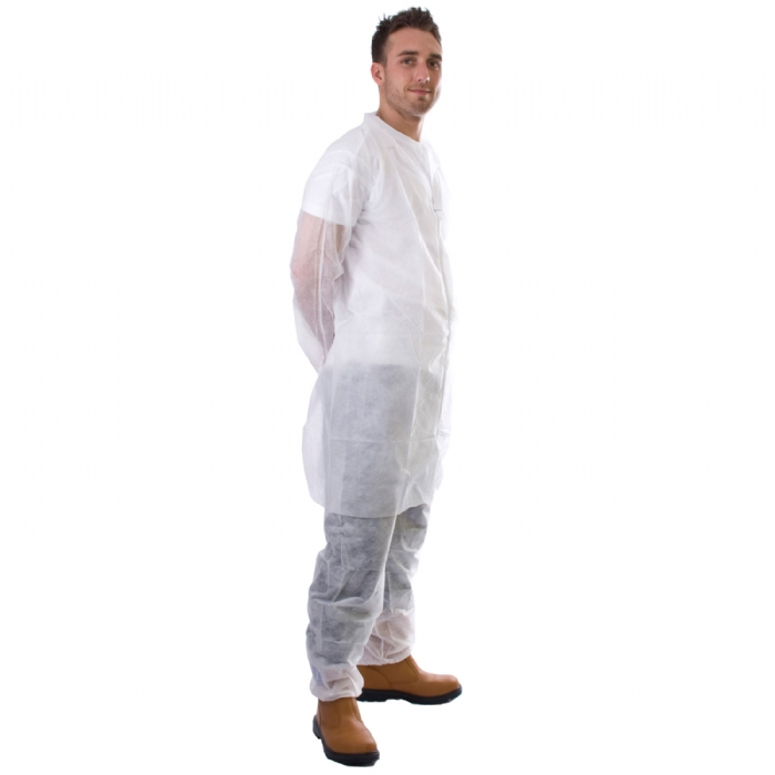 Cheap Disposable Visitor Coat in White