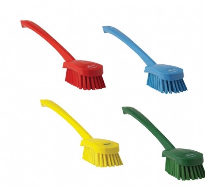 4182 Vikan Hygienic Long Handle Medium Bristle Churn Brush