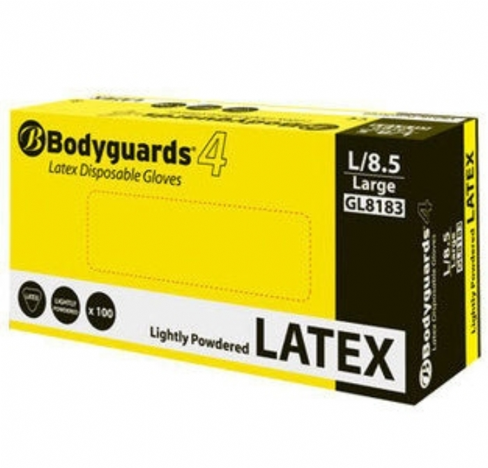GL818 Bodyguards 4 Latex Lightly Powdered Disposable Gloves