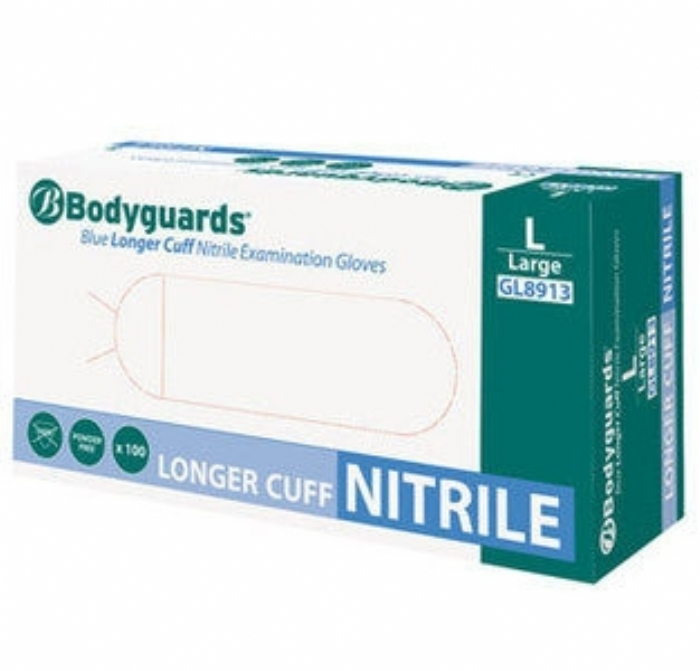 GL891 Bodyguards Blue Longer Cuff Nitrile Powder Free Exam Gloves