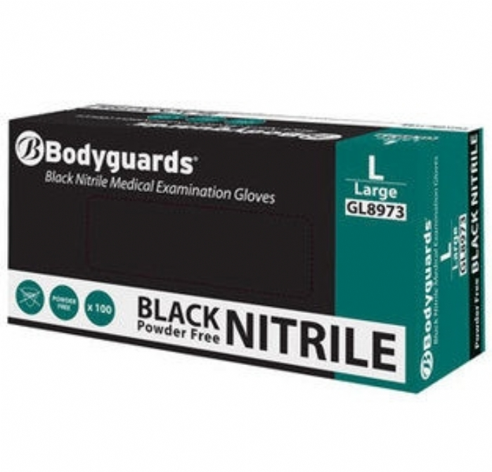 GL897 Bodyguards Black Nitrile Powder Free Exam Gloves