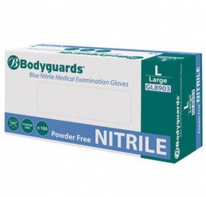 GL890 Bodyguards Blue Nitrile Powder Free Exam Gloves