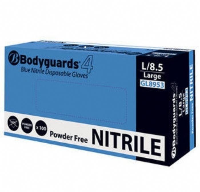 GL895 Bodyguards 4 Blue Nitrile Powder Free Disposable Gloves