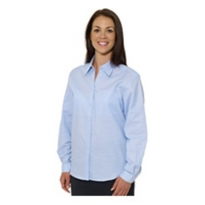 Double Two Ladies Polycotton Long Sleeve Oxford Shirt Colour: Blue Size: 8-24