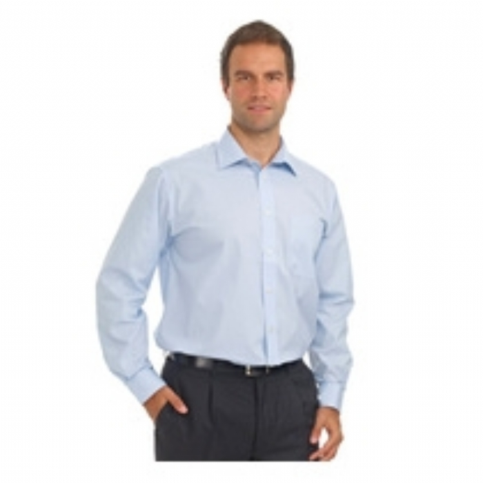 Double Two Wrinkle-free Poplin Long Sleeved Mens Shirt - BLUE