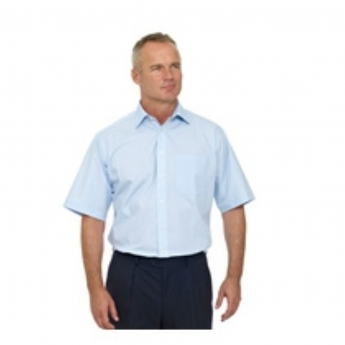 Double Two Wrinkle-free Poplin Short Sleeved Mens Shirt - BLUE