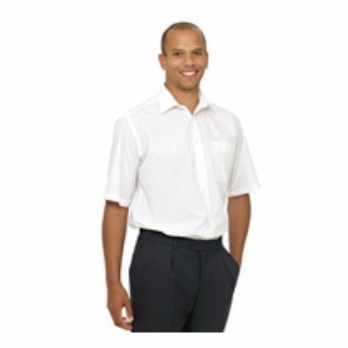 Double Two Wrinkle-free Poplin Short Sleeved Mens Shirt - WHITE