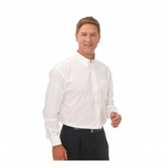 Double Two Polycotton Oxford Weave Wrinkle Free Cotton Rich Long Sleeve Shirt -WHITE