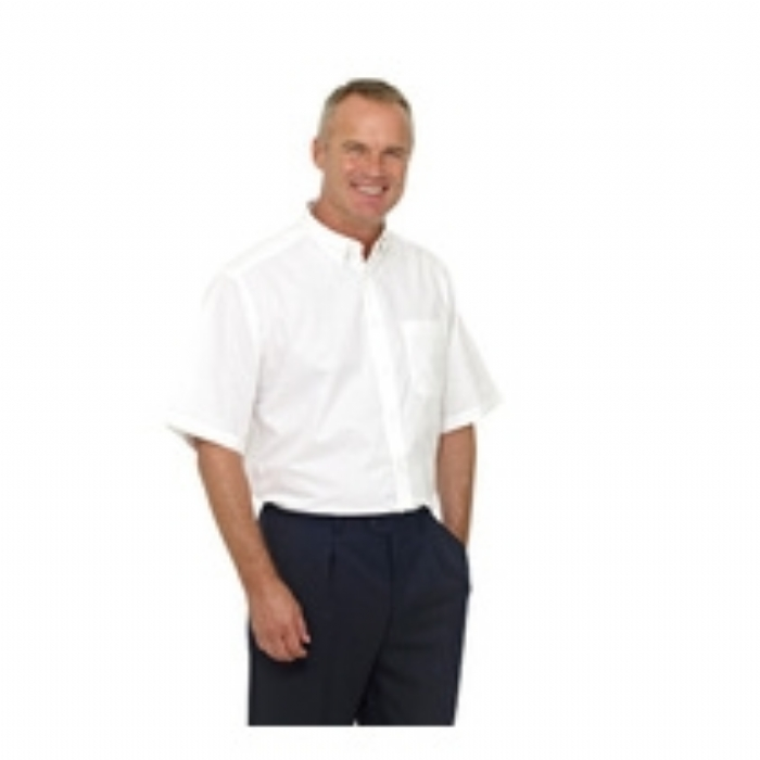 Double Two Polycotton Oxford Weave Wrinkle Free Cotton Rich Short Sleeve Shirt - WHITE