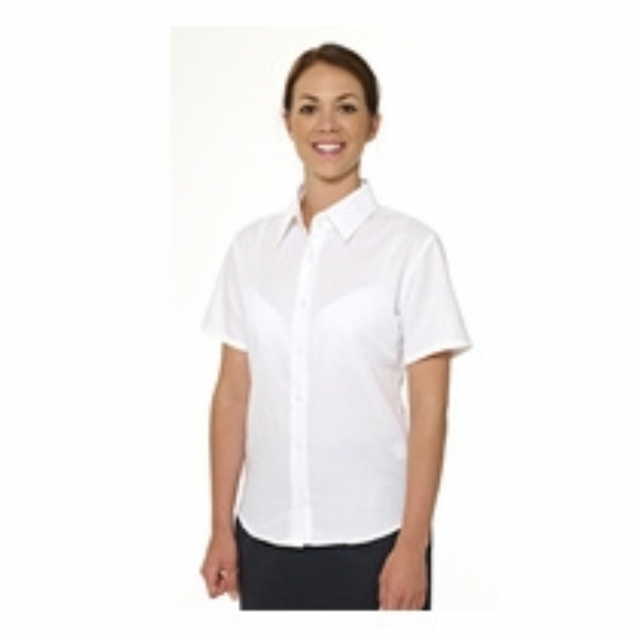 Double Two Ladies Polycotton Short Sleeve Oxford Shirt - WHITE