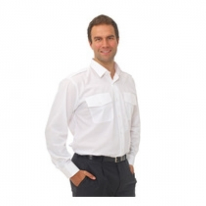Double Two Polycotton Long Sleeved Pilot Shirt - WHITE