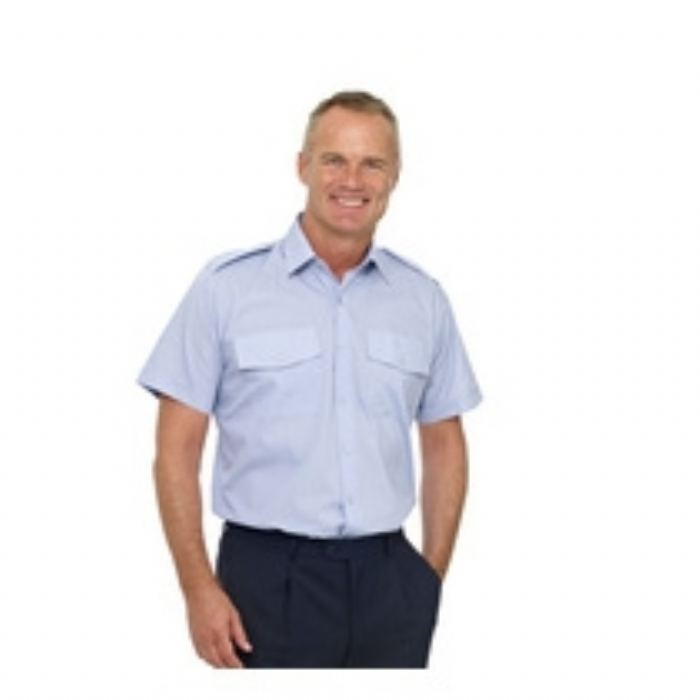 Double Two Polycotton Short Sleeved Pilot Shirt - BLUE