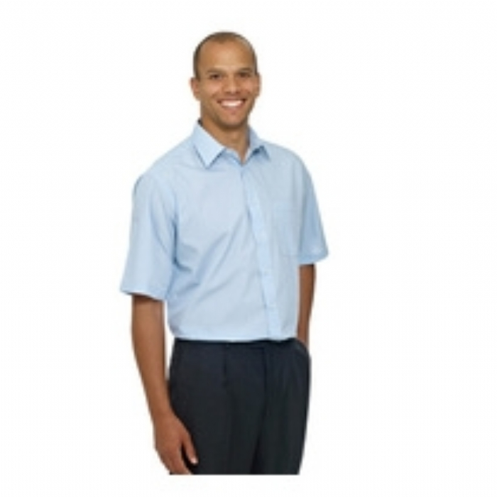 Double Two Classic Short Sleeved Easy Fit Shirt - BLUE