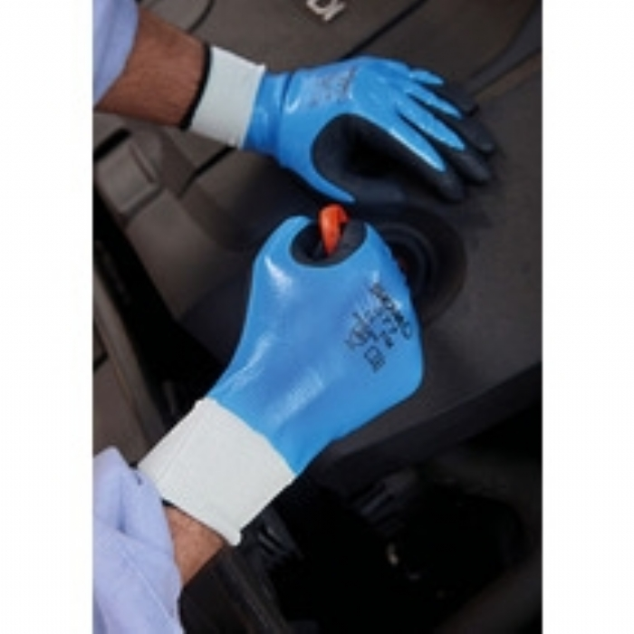 Showa 377 Foam Coated Nitrile Glove - Blue/Black