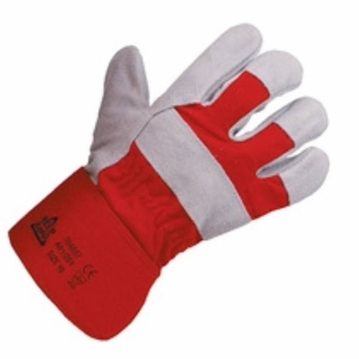 Keep Safe Chrome Leather Red Cotton Back Rigger Glove
