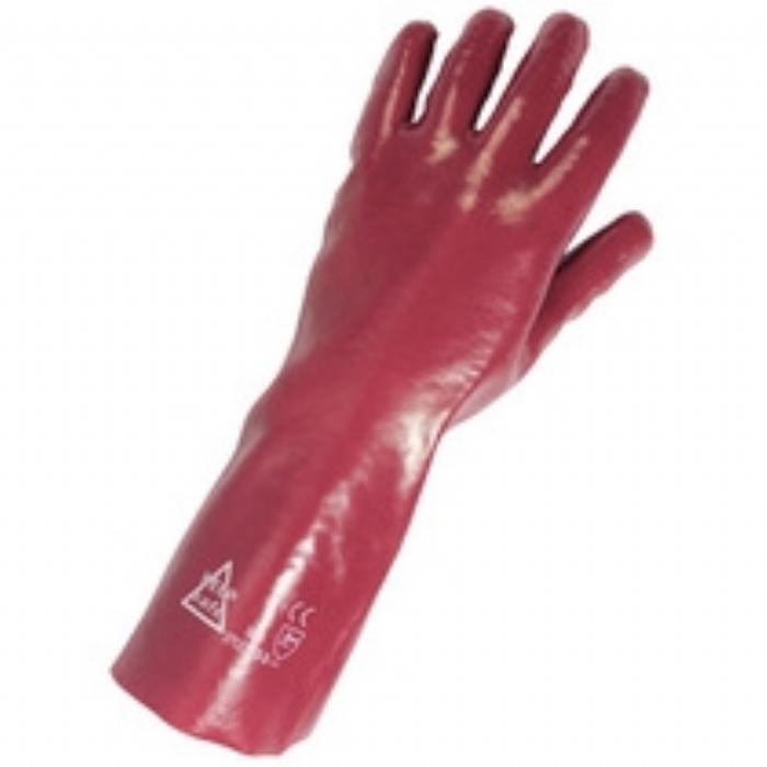 Glove Protective PVC Keep Safe Guantlet 35cm Red