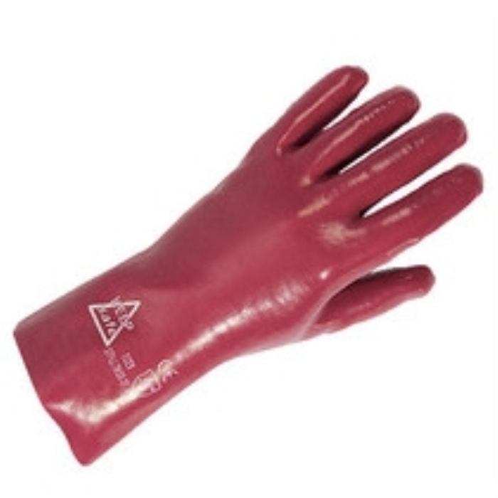 Glove Protective PVC Keep Safe Gauntlet Fully Coated 27cm Red