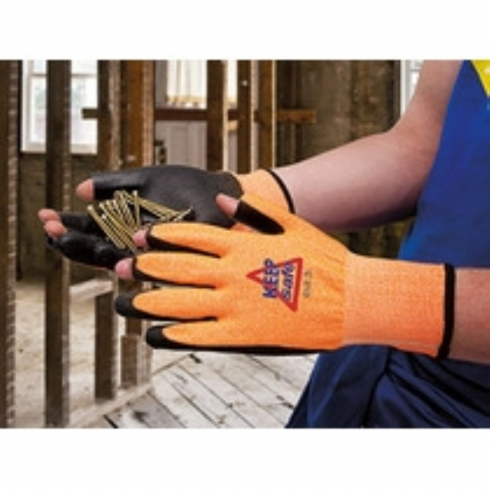 Keep Safe PU Coated 3 Digit Cut 3 Orange Glove