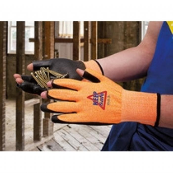 Keep Safe PU Coated 3 Digit Cut 3 Orange Glove