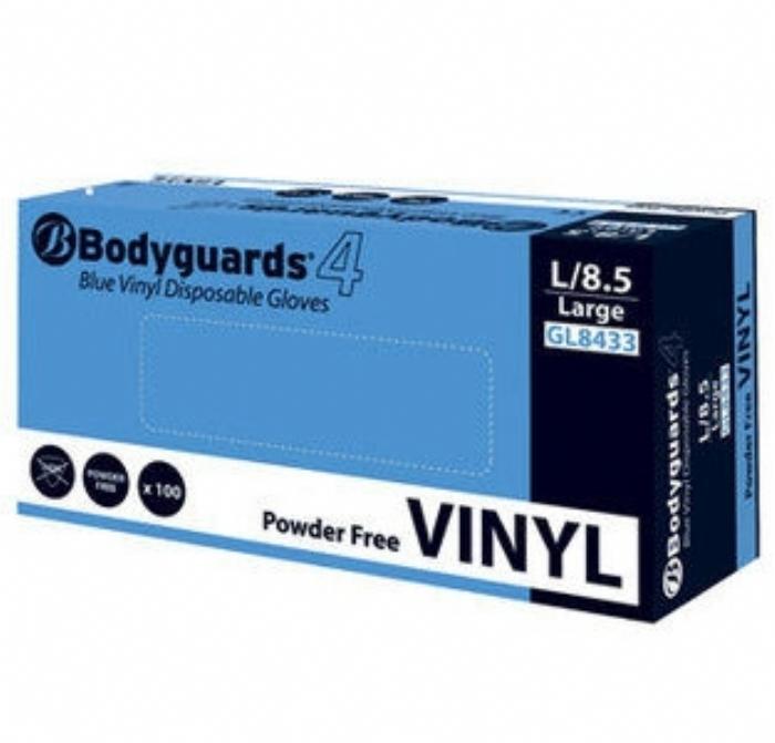 GL843 Bodyguards 4 Blue Vinyl PF Gloves