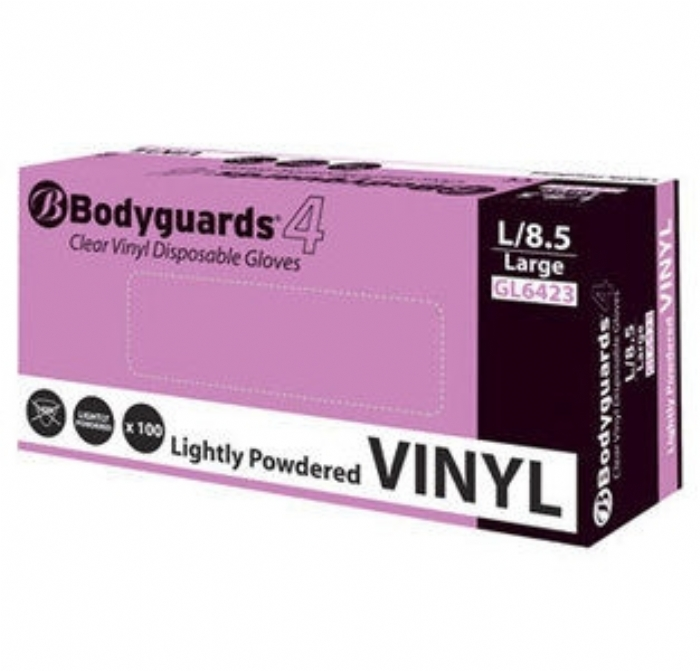 GL642 Bodyguards 4 Clear Vinyl Powdered Gloves