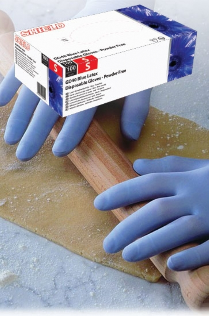 GD40 Blue Powder Free Latex Gloves