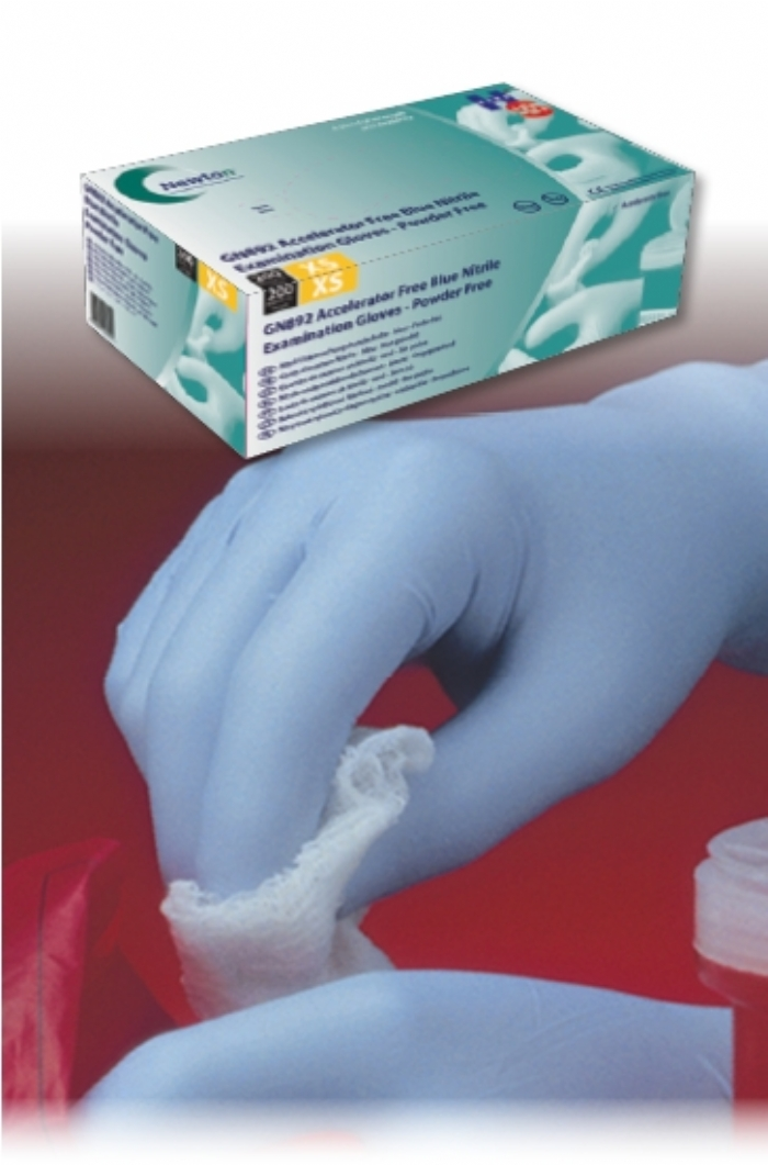 GN892 Blue Accelerator Free Nitrile Gloves - in 200s