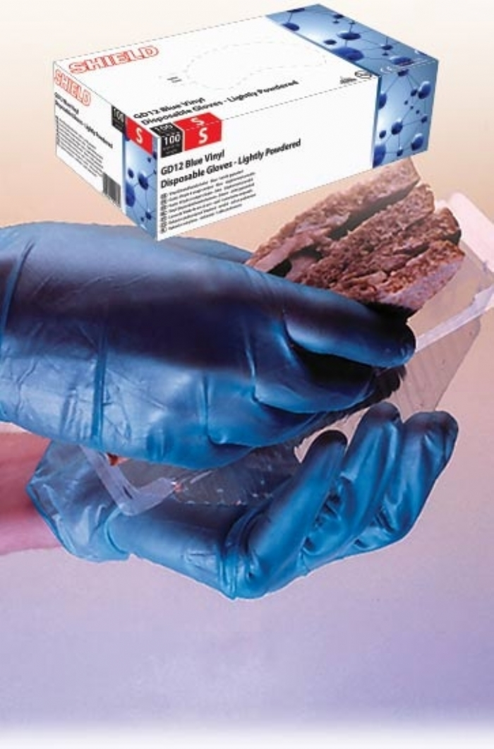 GD12 Blue Lightly Powdered Vinyl Glove