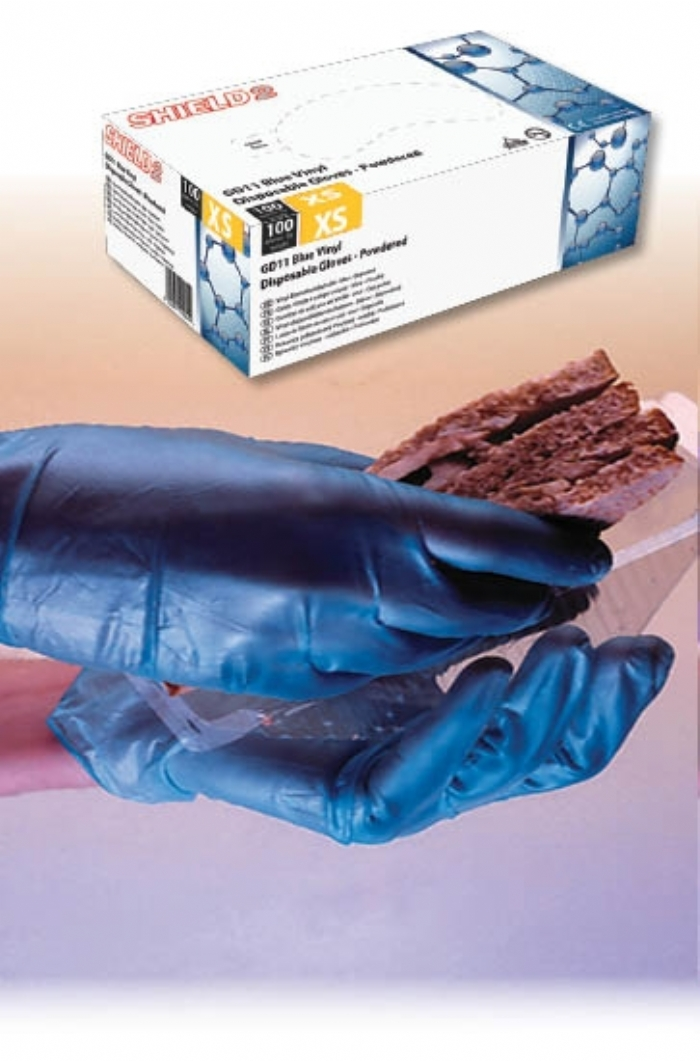 GD11 Blue Powdered Vinyl Gloves