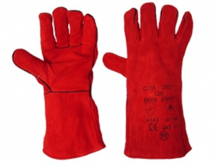 Welders Gauntlet Red Leather One Size