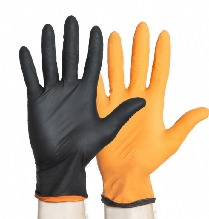 Black & Orange Fire Nitrile PF Exam Gloves