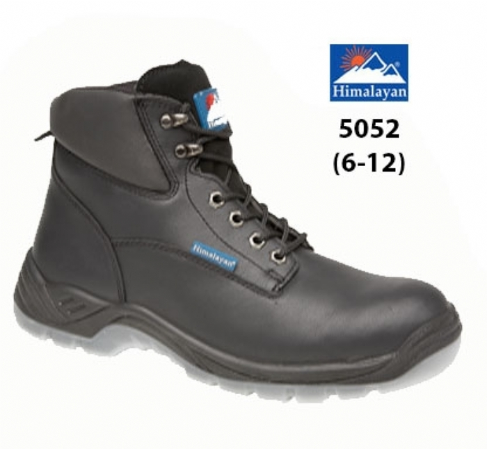 HIMALAYAN  Black Full Grain Leather Safety Boot with PU/PU Clear Sole & Midsole