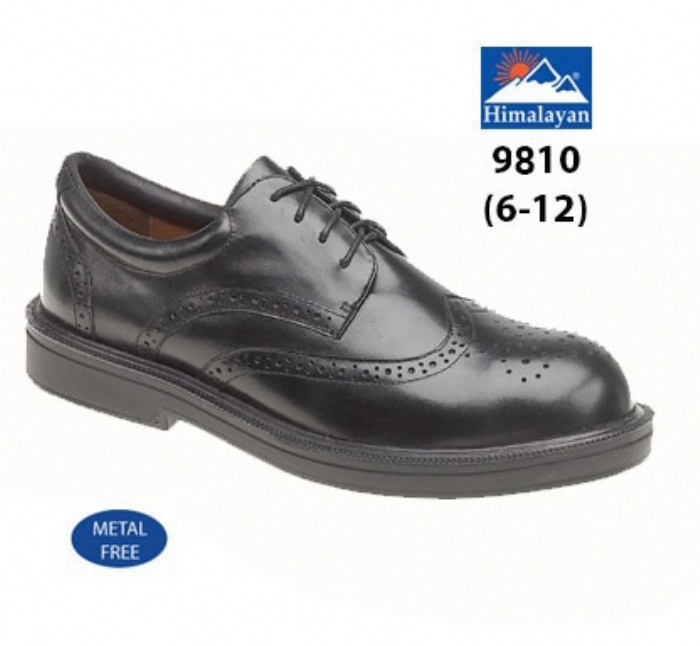 HIMALAYAN Black Leather Brogue Shoe Metal Free Cap/Midsole PU Outsole