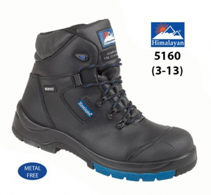 HIMALAYAN  Black HyGrip Fully Waterproof Safety Boot Metal Free Toe/Midsole PU/Rubber Outsole