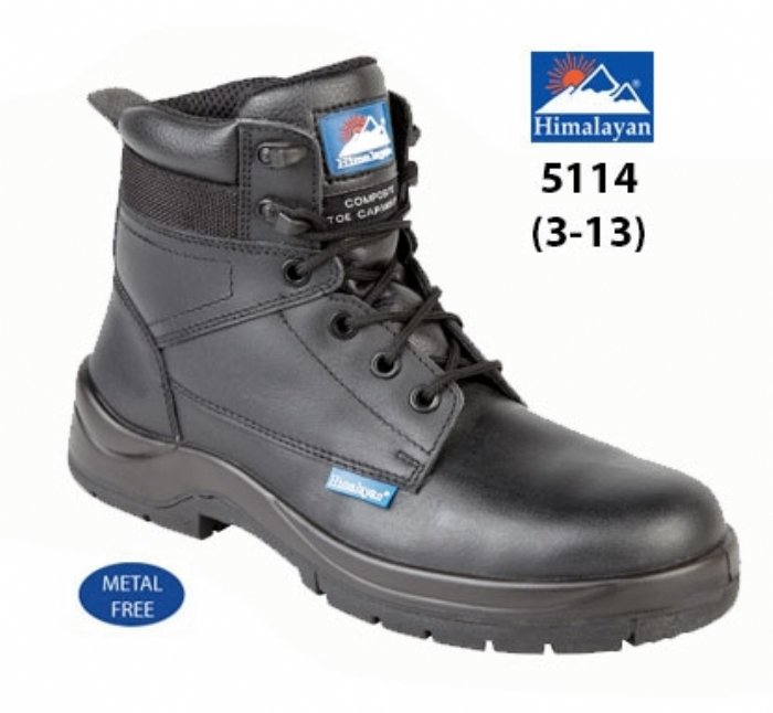 HIMALAYAN  Black Leather HyGrip Safety Boot with Metal Free  Toe/Midsole Pu Outsole