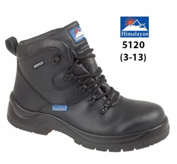 HIMALAYAN  Black Leather HyGrip ''Waterproof'' Safety Boot with Metal FreeToe/Midsole Pu Outsole