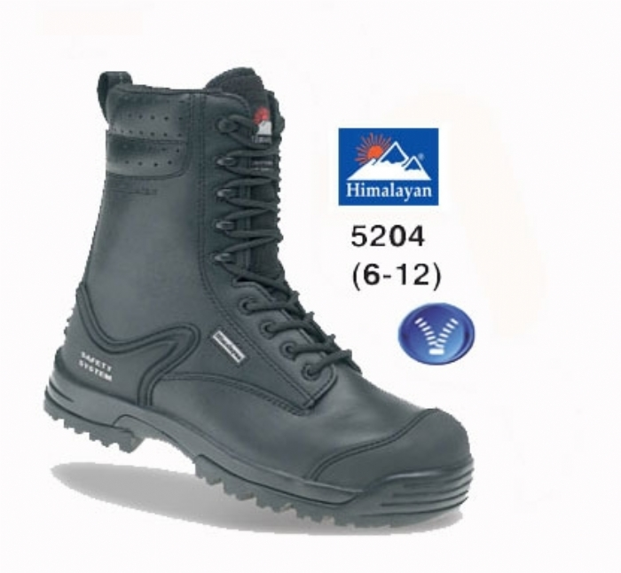 HIMALAYAN Black Leather Safety Combat Boot EN ISO 20345:2004 S3