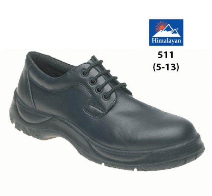 HIMALAYAN  Black Leather Wide Grip 4 Eyelet Safety Shoe  with Dual Density Sole