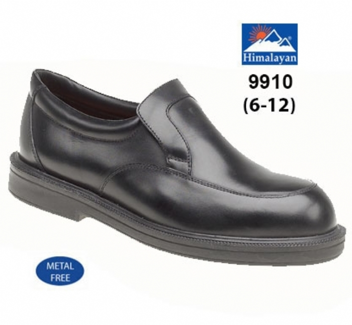 HIMALAYAN Black Leather Casual Shoe Metal Free Cap/Midsole PU Outsole
