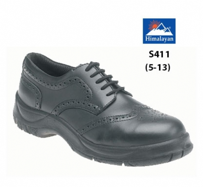 HIMALAYAN  Black Leather Wide Grip Brogue NON SAFETY  Shoe with Dual Density Sole
