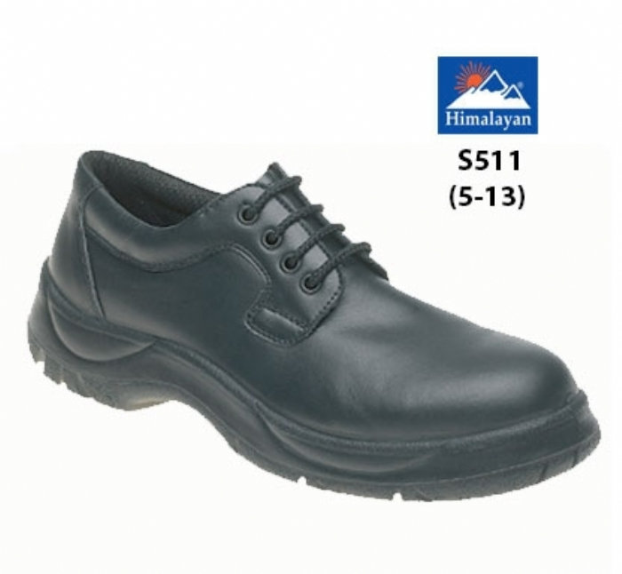 HIMALAYAN  Black Leather Wide Grip 4 Eyelet NON SAFETY  Shoe with Dual Density Sole