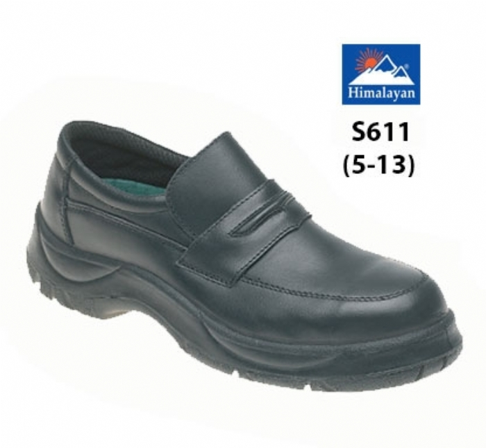 HIMALAYAN  Black Leather Wide Grip Casual NON SAFETY Shoe  with Dual Density Sole