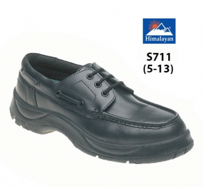 HIMALAYAN  Black Leather Wide Grip NON SAFETY Boat Shoe  with Dual Density Sole