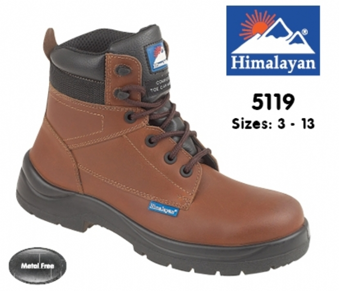 HIMALAYAN  Brown Leather HyGrip Safety Boot with Metal Free  Toe/Midsole Pu Outsole