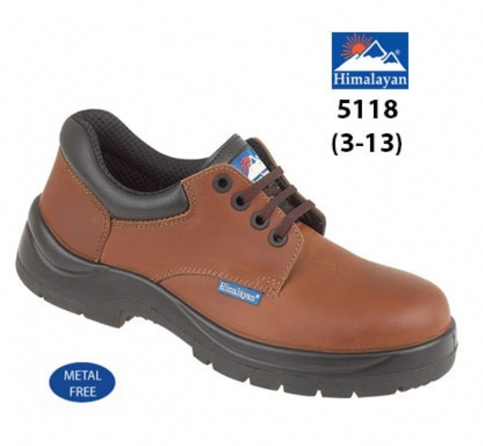 HIMALAYAN  Brown Leather HyGrip Safety Shoe with   Metal Free Toe/Midsole Pu Outsole