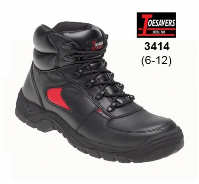 TOESAVERS Black/Red Leather Safety Trainer Boot