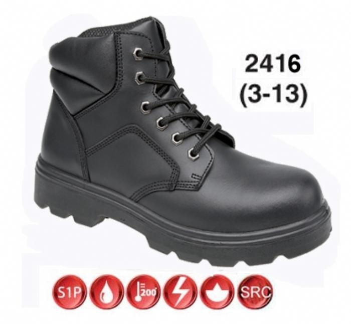 TOESAVERS Black 6 Eyelet Boot, Dual Density Sole, Steel Cap & Midsole
