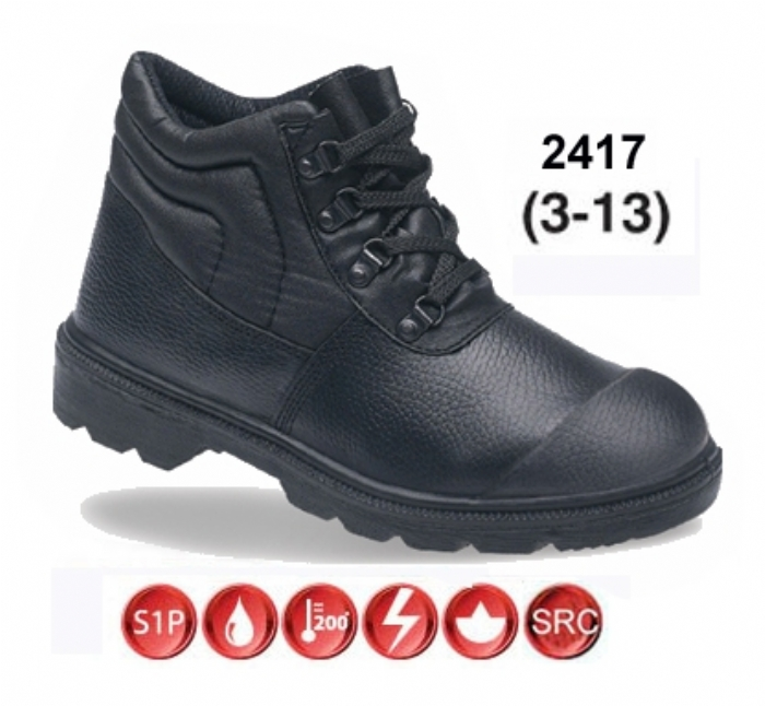 TOESAVERS Black Dual Density PU boot with Scuff Cap & Steel Midsole