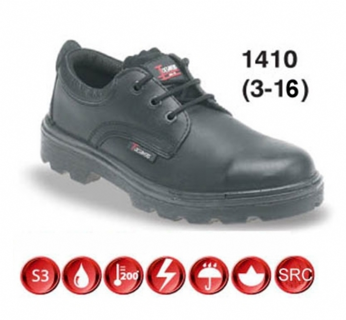 TOESAVERS Black Leather 3 Eyelet Safety Shoe