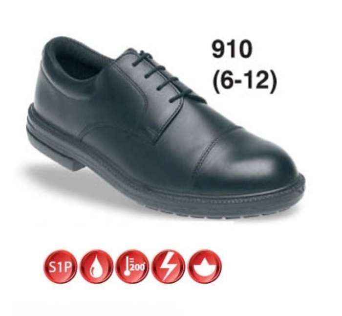 TOESAVERS Black Leather Formal Safety Shoe with Dual Density Sole & Midsole
